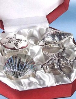 Silver Sea Life Melange Napkin Ring Set - Nautical Luxuries