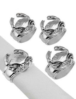 Silver Crab Napkin Ring Set - Nautical Luxuries