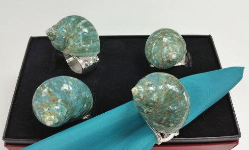 Jade Turbo Shell Napkin Ring Set - Nautical Luxuries