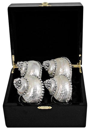 Swarovski Crystal Pearl Turbo Shell Napkin Ring Set - Nautical Luxuries