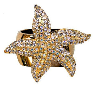 Swarovski Crystal Luxury Starfish Napkin Ring Sets - Nautical Luxuries