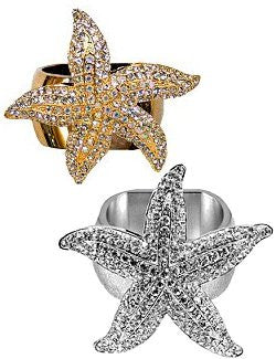 Swarovski Crystal Luxury Starfish Napkin Ring Sets