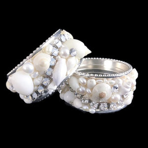 Swarovski Crystals Seashells Pavé Luxury Napkin Ring Set - Nautical Luxuries