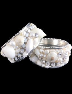 Swarovski Crystals Seashells Pavé Luxury Napkin Ring Set