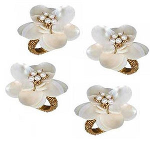 Mother Of Pearl Sea Flower Napkin Rings - Nautical Luxuries