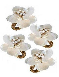 Mother Of Pearl Sea Flower Napkin Rings