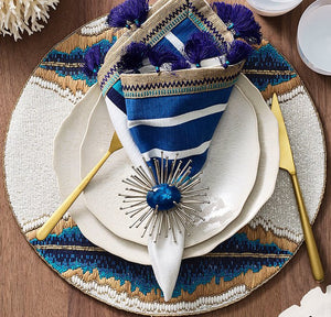 Cobalt Gem Anemone Napkin Ring Set - Nautical Luxuries