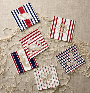 Nautical Motif Embroidered Cocktail Napkin Set - Nautical Luxuries