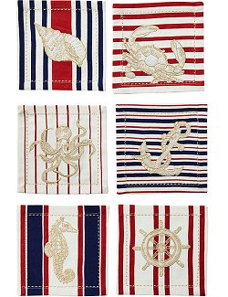 Nautical Motif Embroidered Cocktail Napkin Set