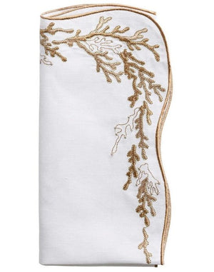 Kim Seybert Embroidered Coral Linen Napkin Sets - Nautical Luxuries