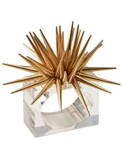 Golden Sea Urchin Napkin Ring Set - Nautical Luxuries