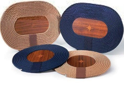 Italian Rope Inlaid Teak Table Mats - Nautical Luxuries