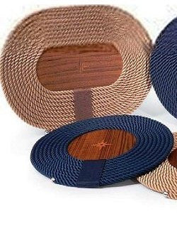 Italian Rope Inlaid Teak Table Mats