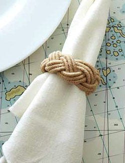 Nautical Braided Jute Napkin Ring Set - Nautical Luxuries