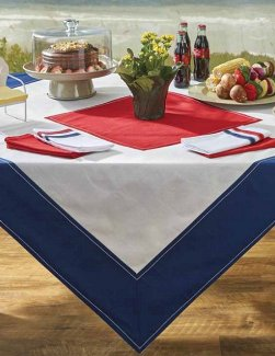 Nautical Signal Flag Square Cotton Tablecloth