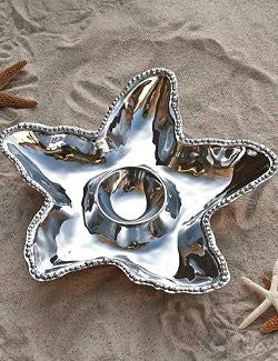 Beaded Starfish Aluminum Chip & Dip Server - Nautical Luxuries