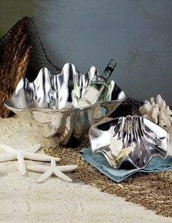 Aluminum Oyster Shell Serving Bowls - Nautical Luxuries