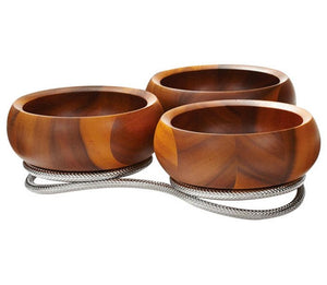 Braid Rope Acacia Wood Trio Server Set - Nautical Luxuries