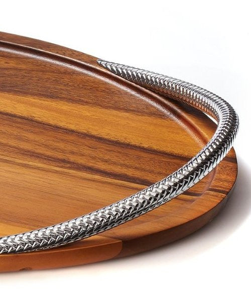 Braid Rope Acacia Wood Serving Tray