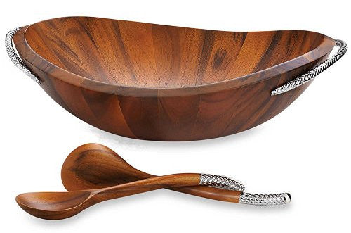 Braid Rope Acacia Wood Salad Set - Nautical Luxuries