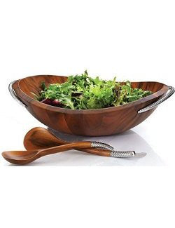 wood salad set coastal nautical style
