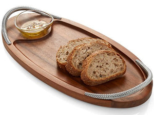 Braid Rope Acacia Wood Serving Platter Set - Nautical Luxuries