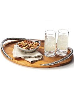Braid Rope Acacia Wood Serving Tray - Nautical Luxuries