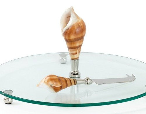 Tribute Seashell Glass Cheese Platter Set - Nautical Luxuries