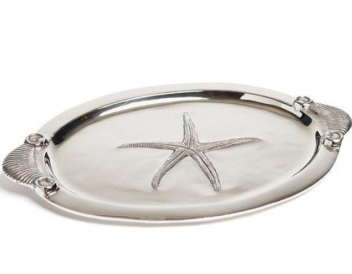 Starfish Metal Relief Oval Serving Platter