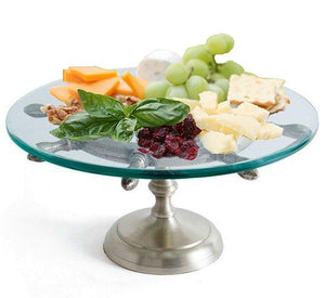 Ship's Wheel Glass Cheese/Appetizer Pedestal Server - Nautical Luxuries