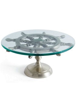 Ship's Wheel Glass Cheese/Appetizer Pedestal Server