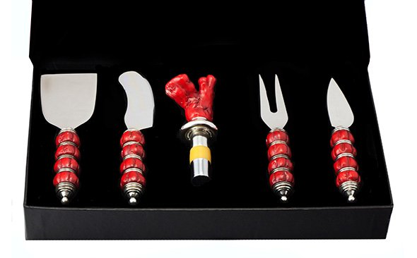 Red Coral Wine & Cheese Server Set - Nautical Luxuries