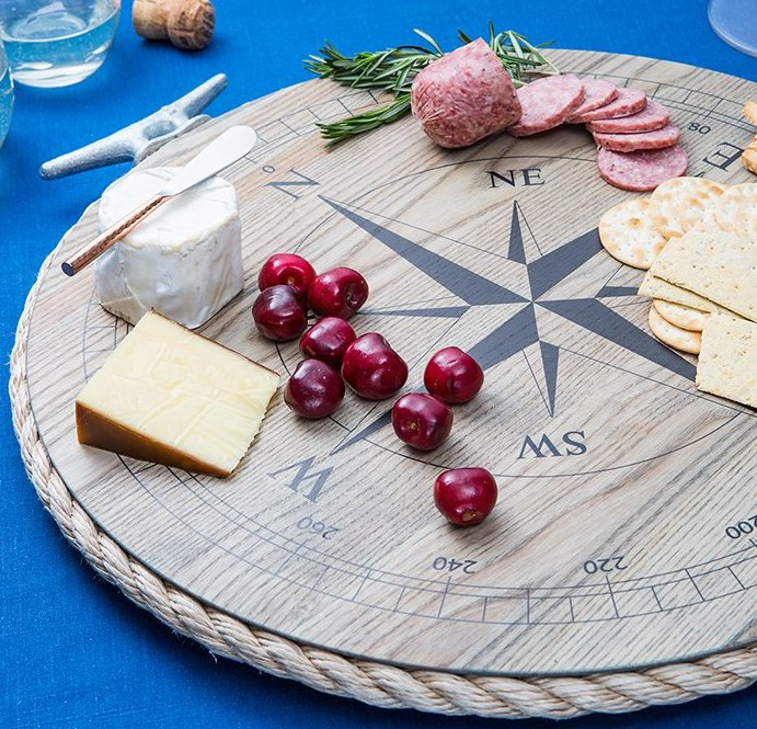 Rope Edged Wooden Compass Rose Trays/Lazy Susan - Nautical Luxuries