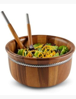 Braid Rope Acacia Wood Right-Size Salad Set - Nautical Luxuries