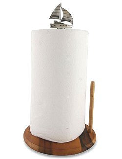 Beach Cottage Pewter Sailboat Paper Towel Holder - Nautical Luxuries