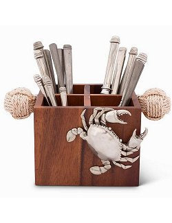Crabbin' Wooden Flatware Caddy - Nautical Luxuries
