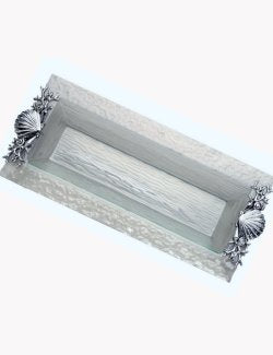 Bubbling Waters Glass Coastal Serving Tray - Nautical Luxuries