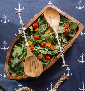 Wood Dinghy Salad Bowl Set - Nautical Luxuries