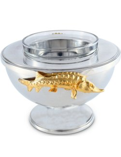 Golden Sturgeon Caviar Server - Nautical Luxuries