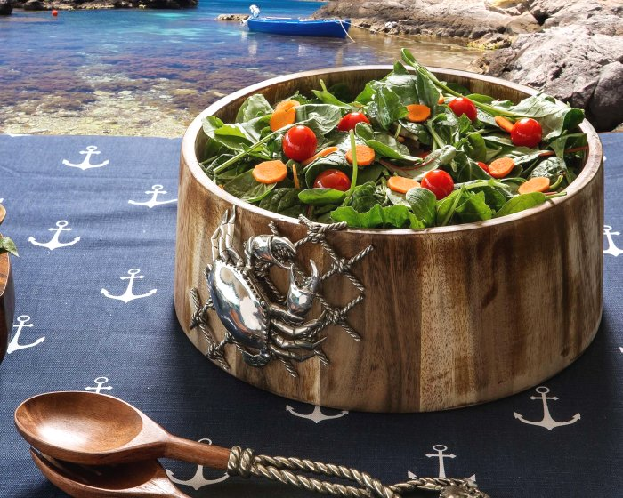 Netted Crab Acacia Wood Salad Serving Bowl - Nautical Luxuries