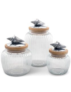 Coastal Cottage Vintage Glass Canister Set - Nautical Luxuries
