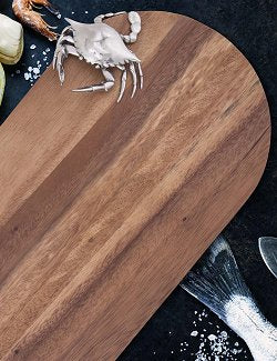 Crab Narrow Acacia Wood Cheese Board - Nautical Luxuries