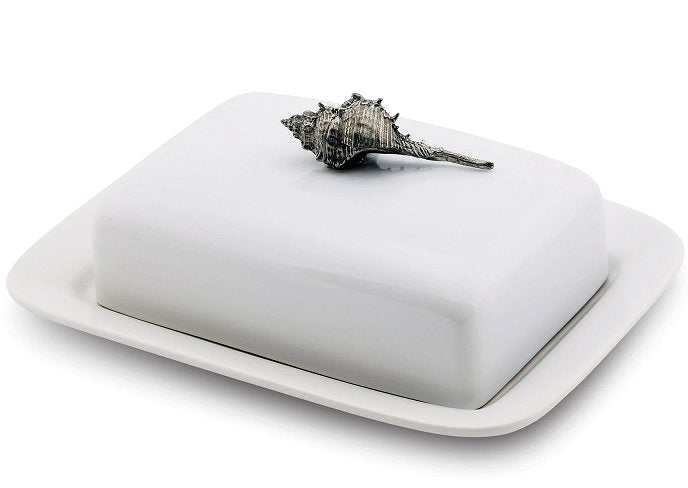 Seashell Stoneware Gourmet Butter Dish - Nautical Luxuries