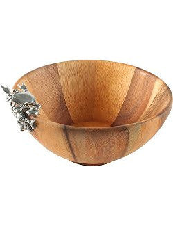Coastal Theme Wood Salad Bowl