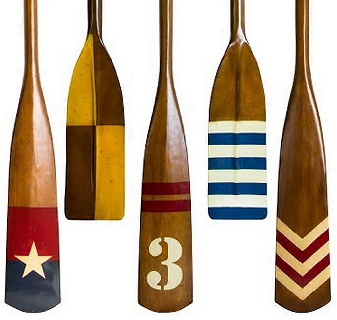 Varsity Crew Wood Oars Rack Set - Nautical Luxuries