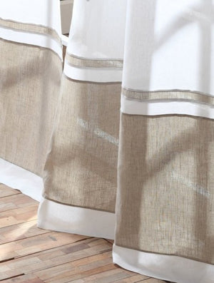 Banded Beach Linen Window Panels - Nautical Luxuries