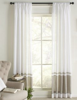Banded Beach Linen Window Panels