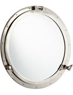 Steamship Era Riveted Porthole Mirror