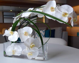 White Orchids With Flax Leaves Yacht Silks Arrangement - Nautical Luxuries