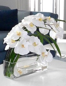 White Orchids With Flax Leaves Yacht Silks Arrangement